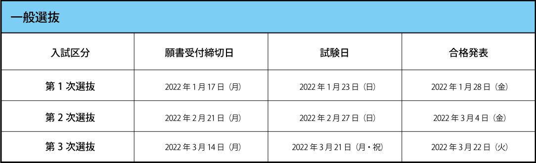 試験日程 一般入試